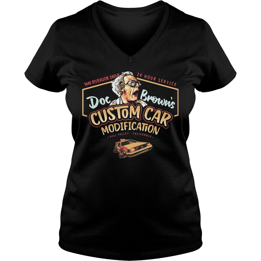 1640 riverside drive 24 hour service doc Brown's custom car modification V-neck T-shirt