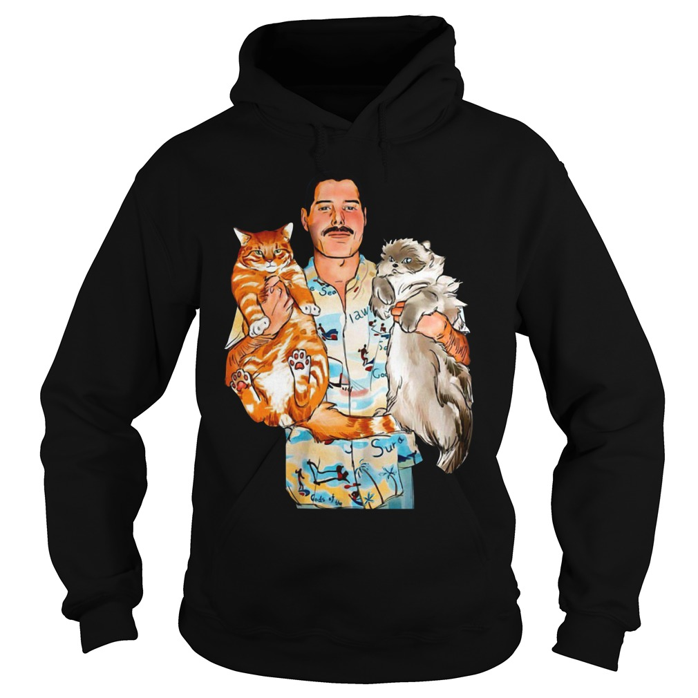 Freddie Mercury with his cats Oscar and Tiffany Hoodie