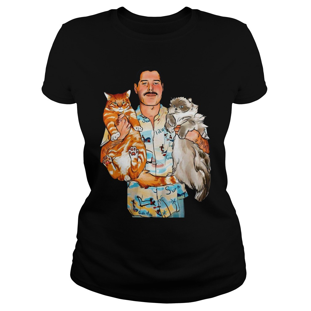 Freddie Mercury with his cats Oscar and Tiffany Ladies Tee