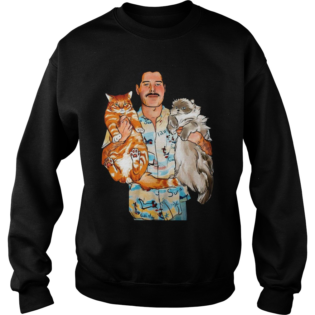 Freddie Mercury with his cats Oscar and Tiffany Sweater