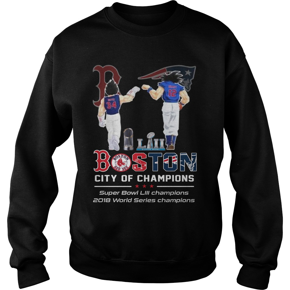 Goku and Vegeta Super Bowl Boston city of champions sweater