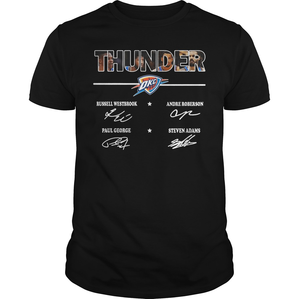 Thunder Russell Westbrook Andre Roberson Paul George Steven Adams sign shirt