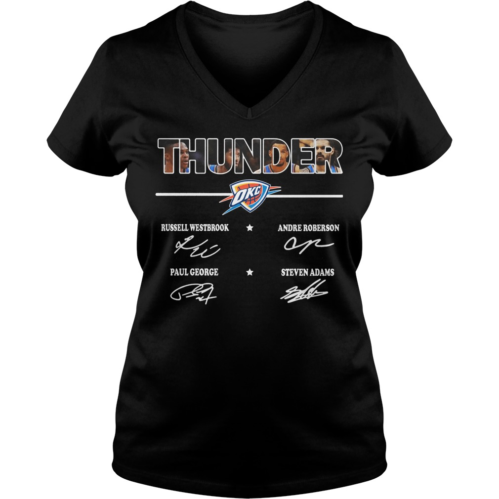 Thunder Russell Westbrook Andre Roberson Paul George Steven Adams sign V-neck T-shirt
