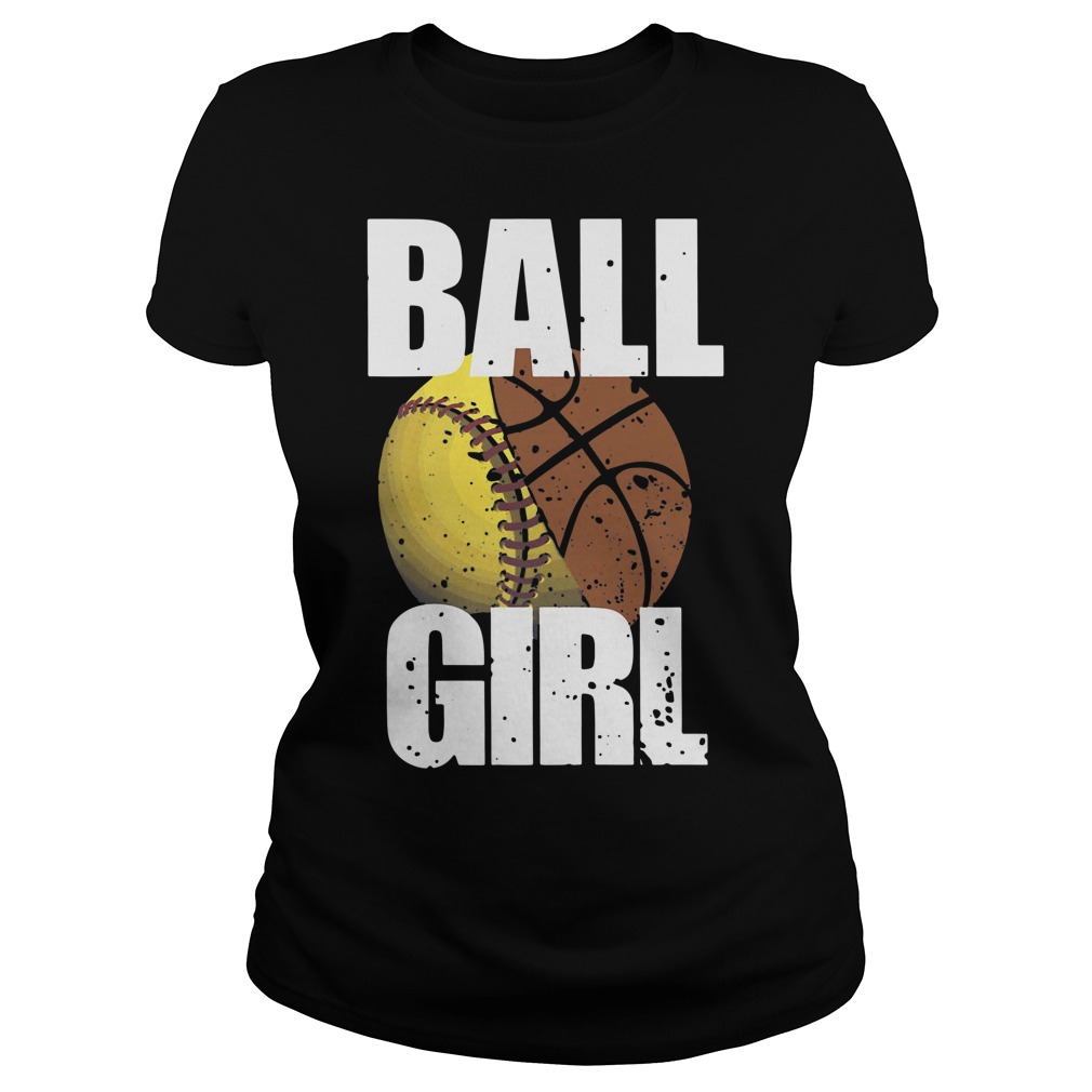 Baseball basketball ball girl Ladies Tee