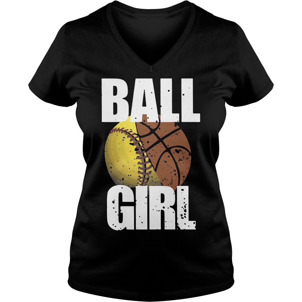 Baseball basketball ball girl V-neck T-shirt