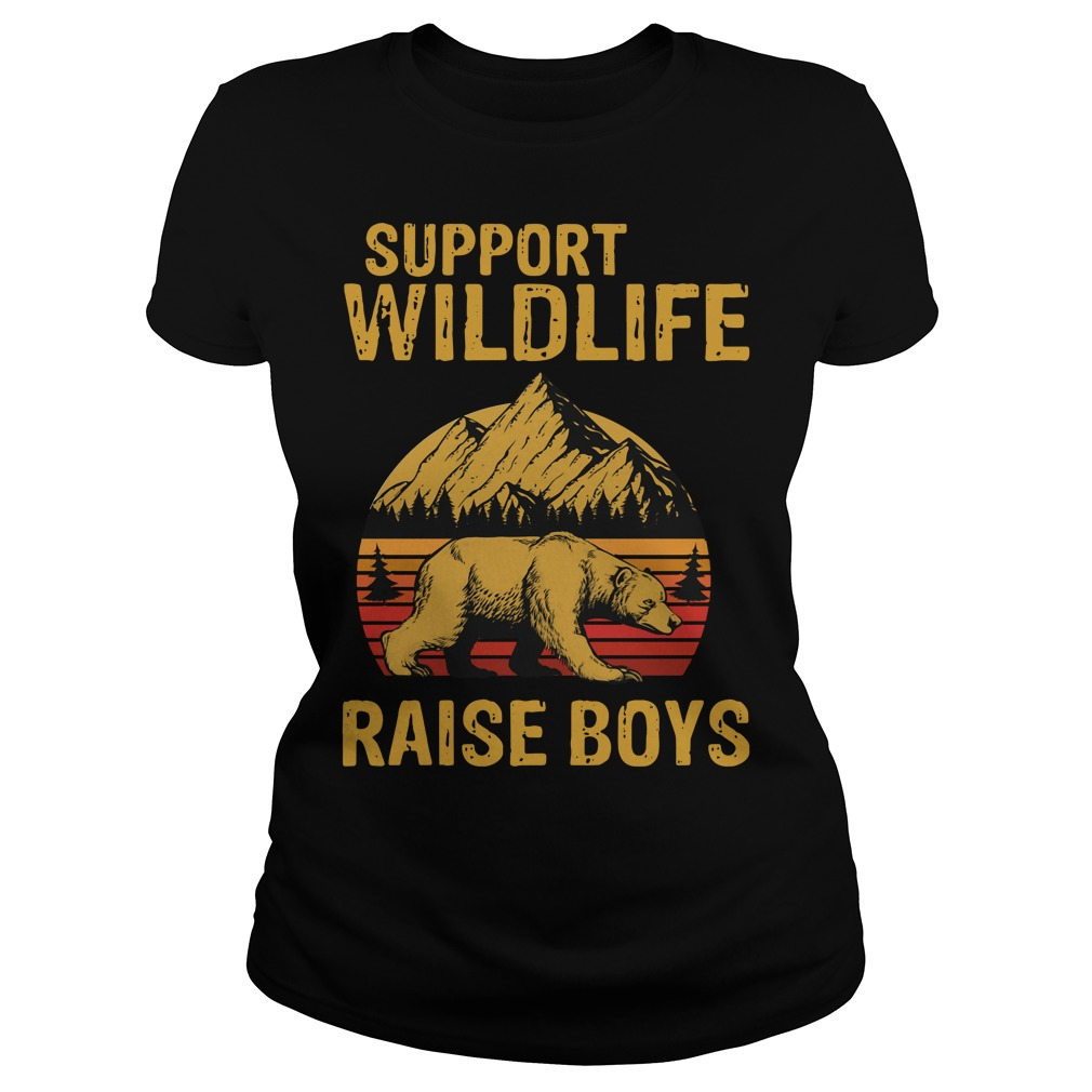 Bear support wildlife raise boys vintage Ladies Tee