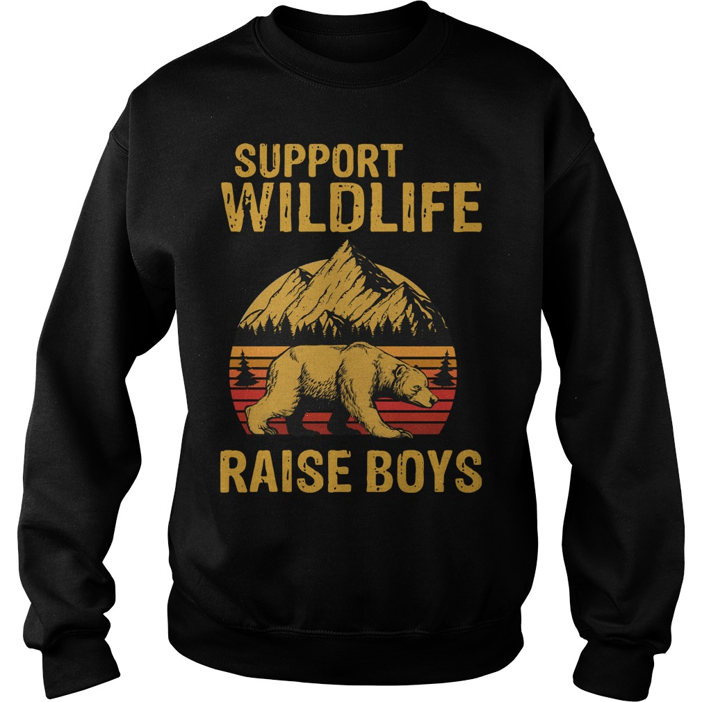 Bear support wildlife raise boys vintage Sweater