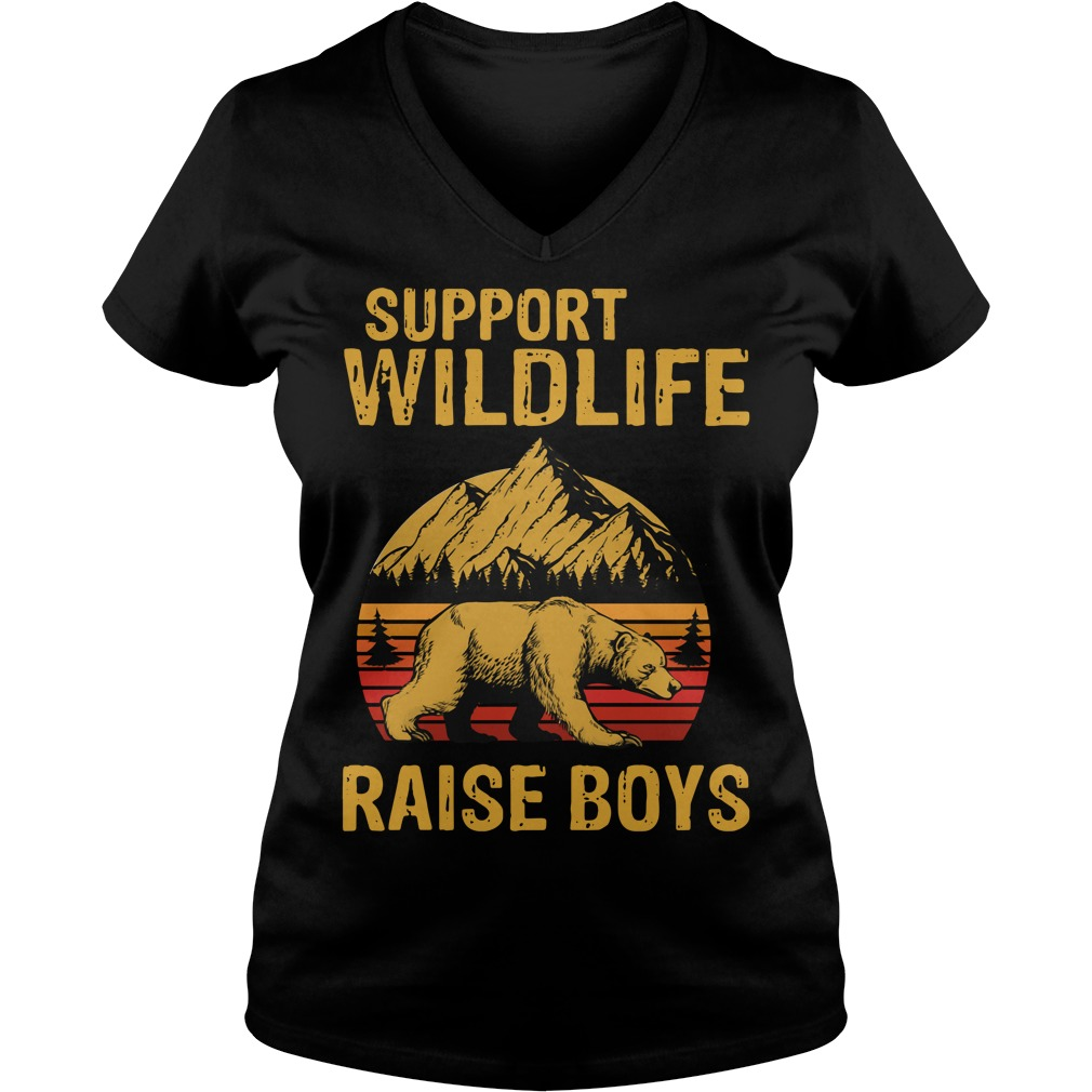 Bear support wildlife raise boys vintage V-neck T-shirt