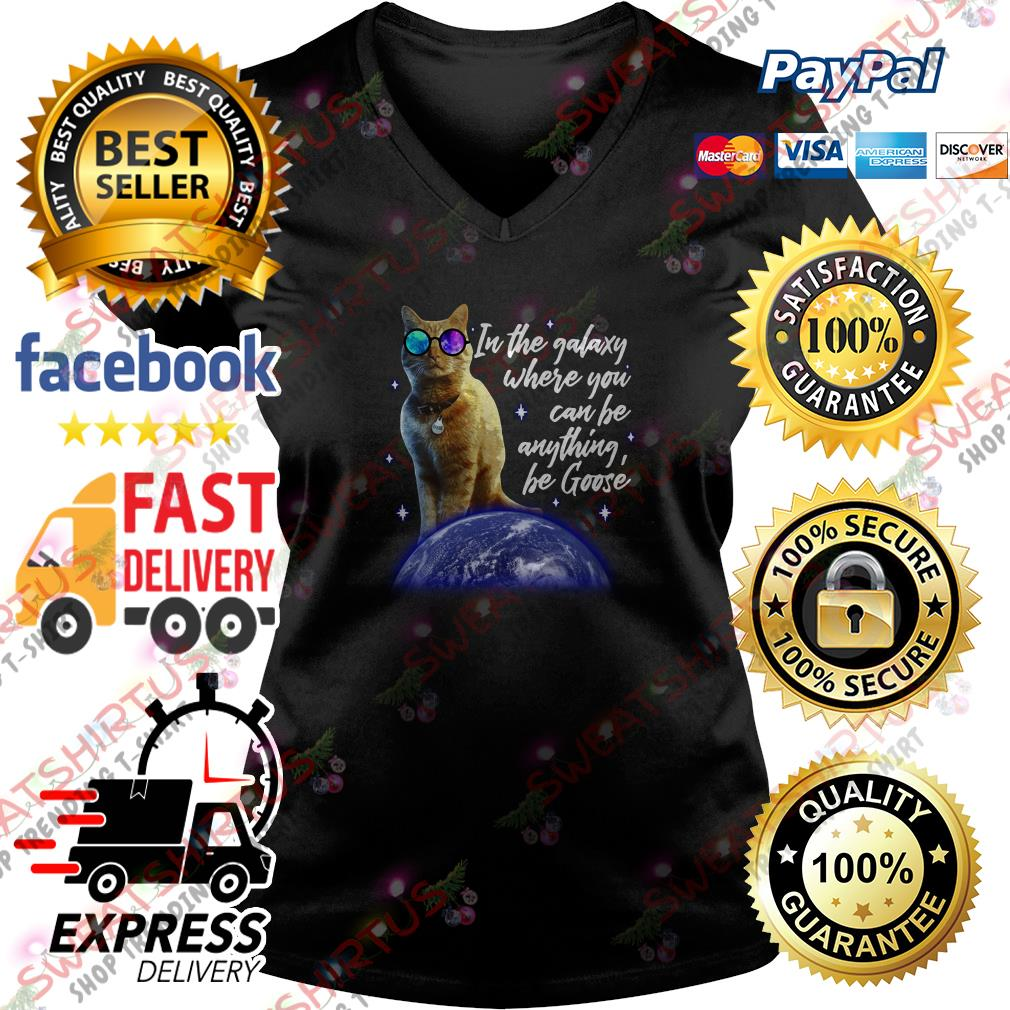 Goose the cat in the galaxy where you can be anything be Goose V-neck T-shirt