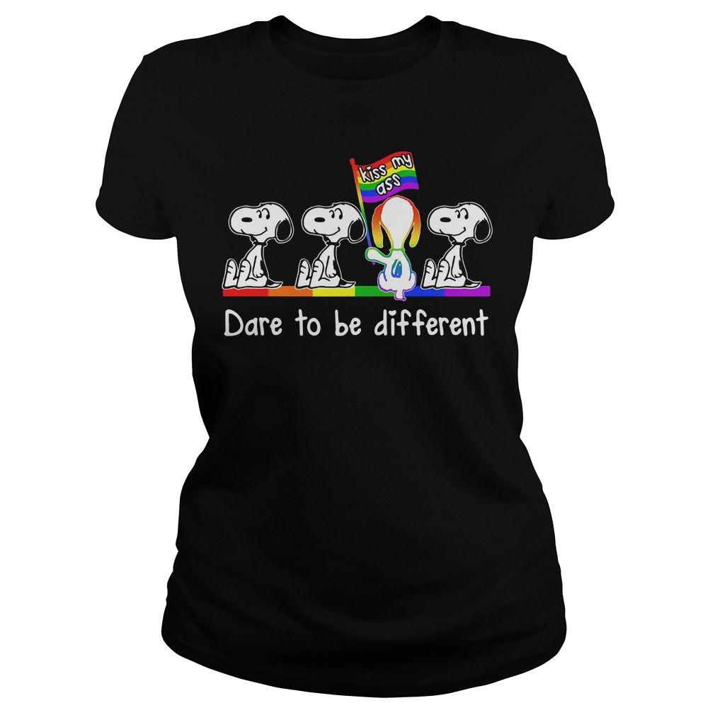 LGBT Snoopy kiss my ass dare to be different Ladies Tee