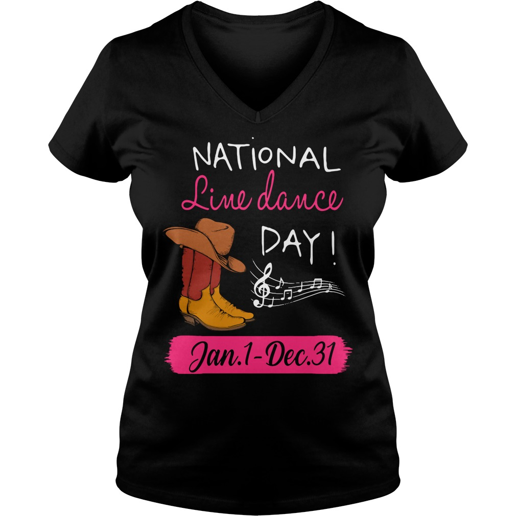 National line dance day V-neck T-shirt