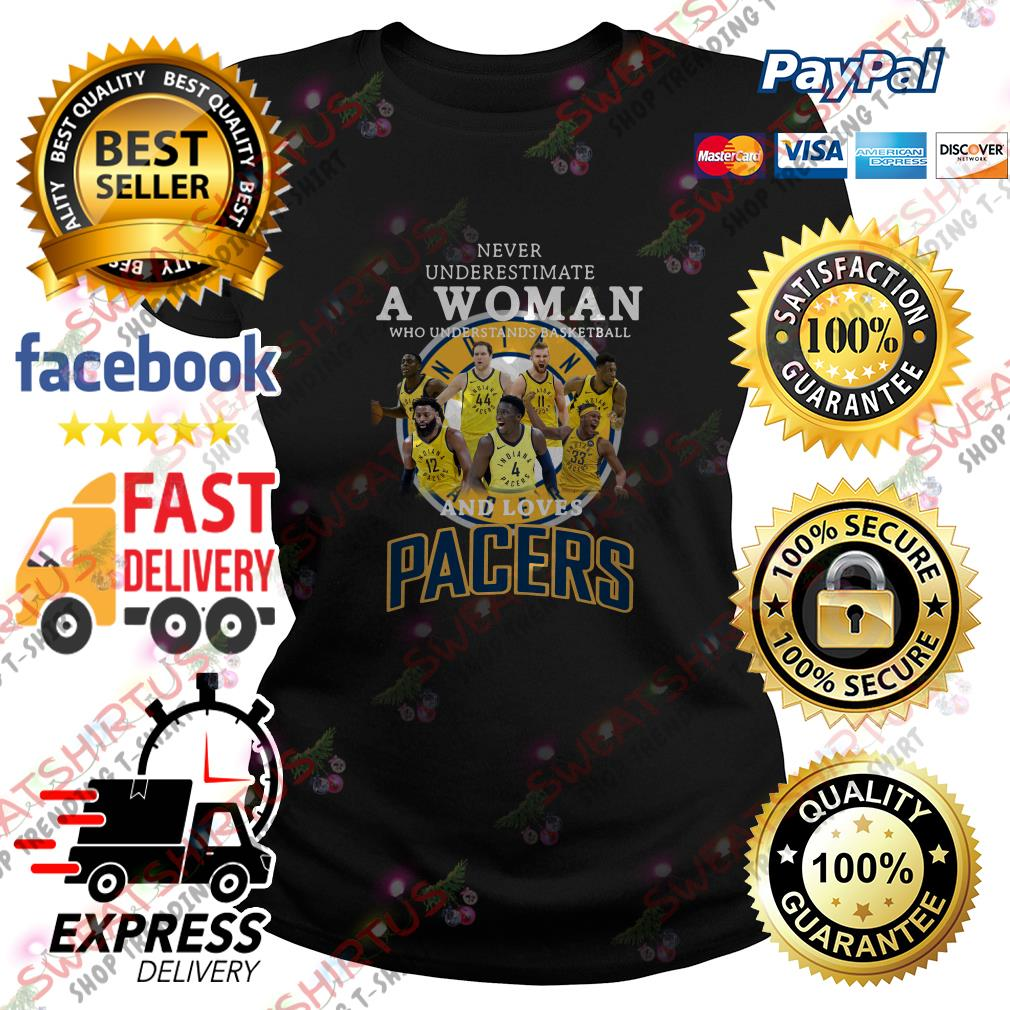 Never underestimate a woman who understands basketball and loves Pacers Ladies Tee