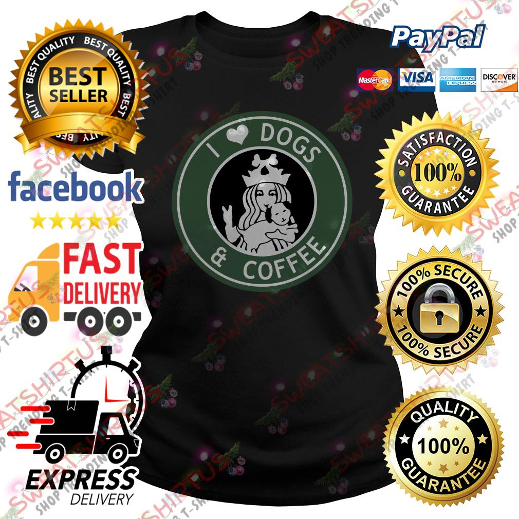 Official Starbucks I love dogs and coffee Ladies Tee