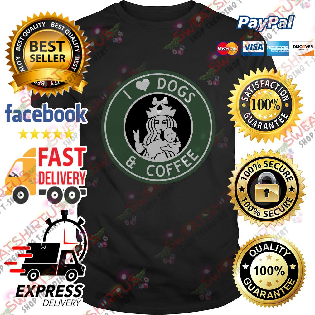 Official Starbucks I love dogs and coffee shirt