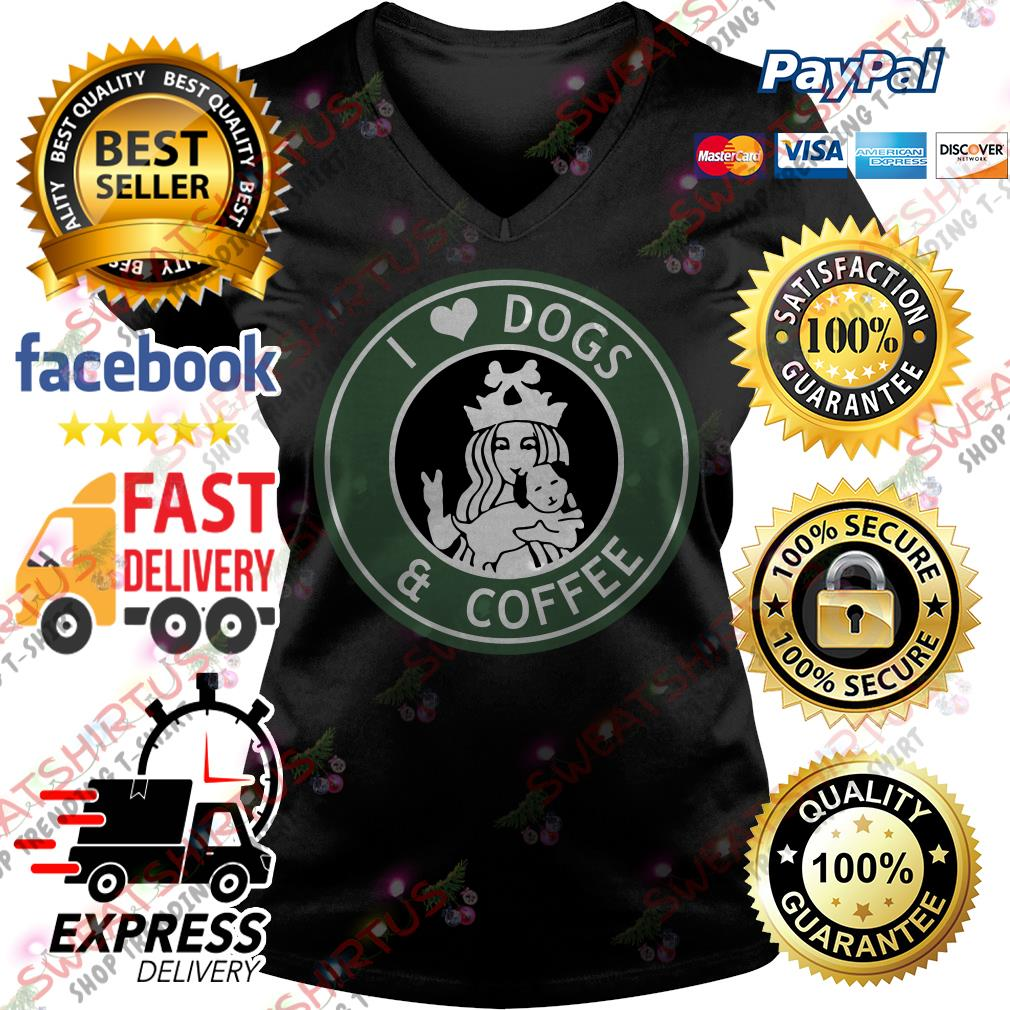 Official Starbucks I love dogs and coffee V-neck T-shirt