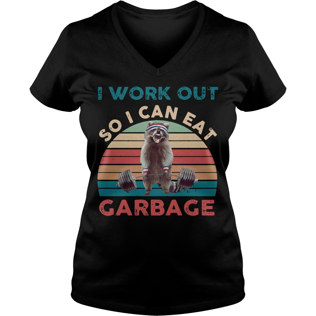 Raccoon I work out so I can eat garbage vintage V-neck T-shirt