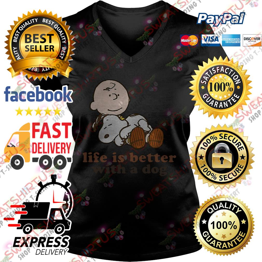 Snoopy life is better with a dog V-neck T-shirt