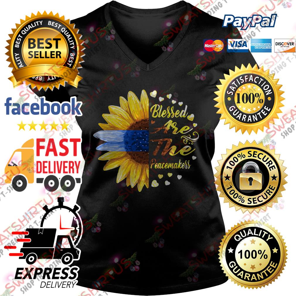 Sunflower blessed are the peacemakers V-neck T-shirt