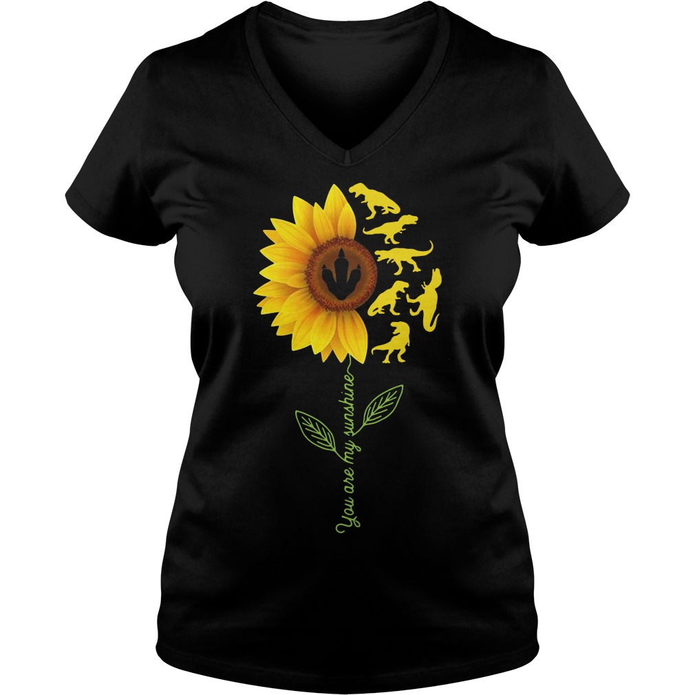 Sunflower T-Rex you are my sunshine V-neck T-shirt