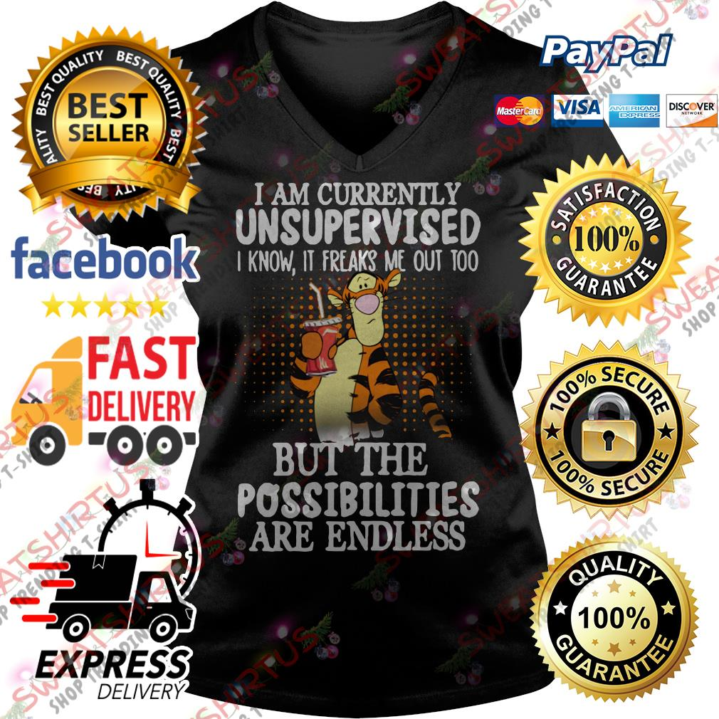 Tiger I am currently unsupervised I know it freaks me out too V-neck T-shirt
