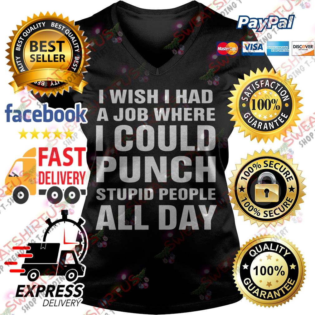 I wish I had a job where I could punch stupid people all day V-neck T-shirt