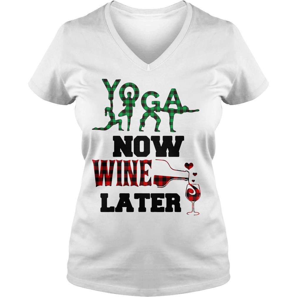 Yoga now wine later V-neck T-shirt