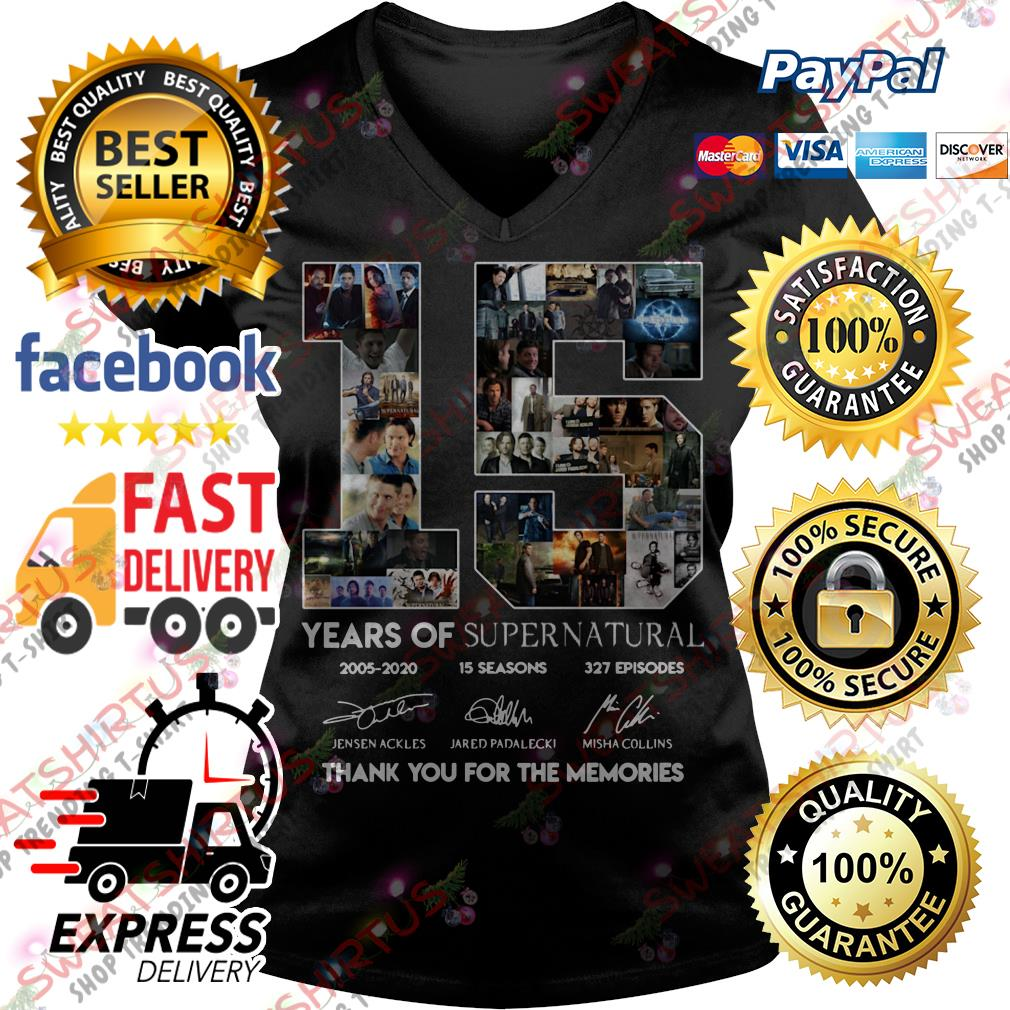 15 years of Supernatural thank you for the memories V-neck T-shirt