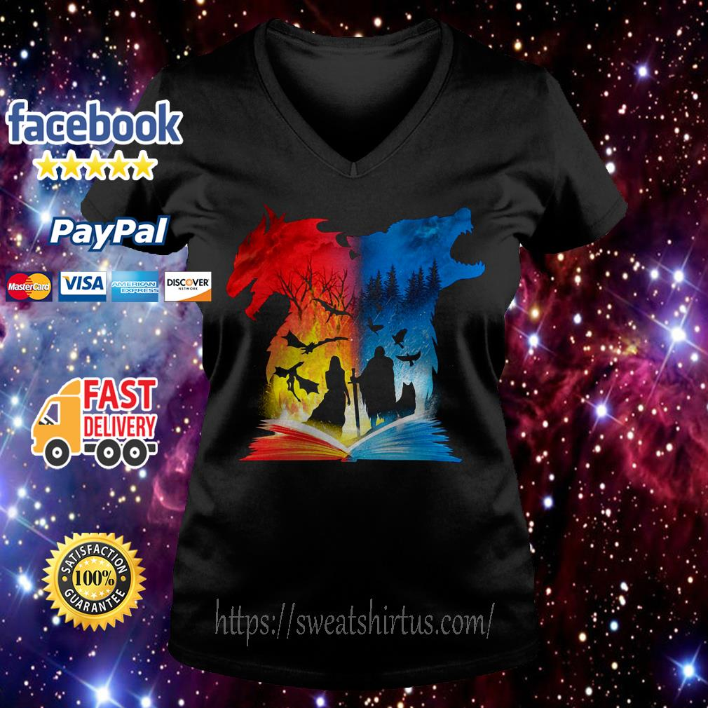 Book of fire and ice Game Of Thrones V-neck T-shirt