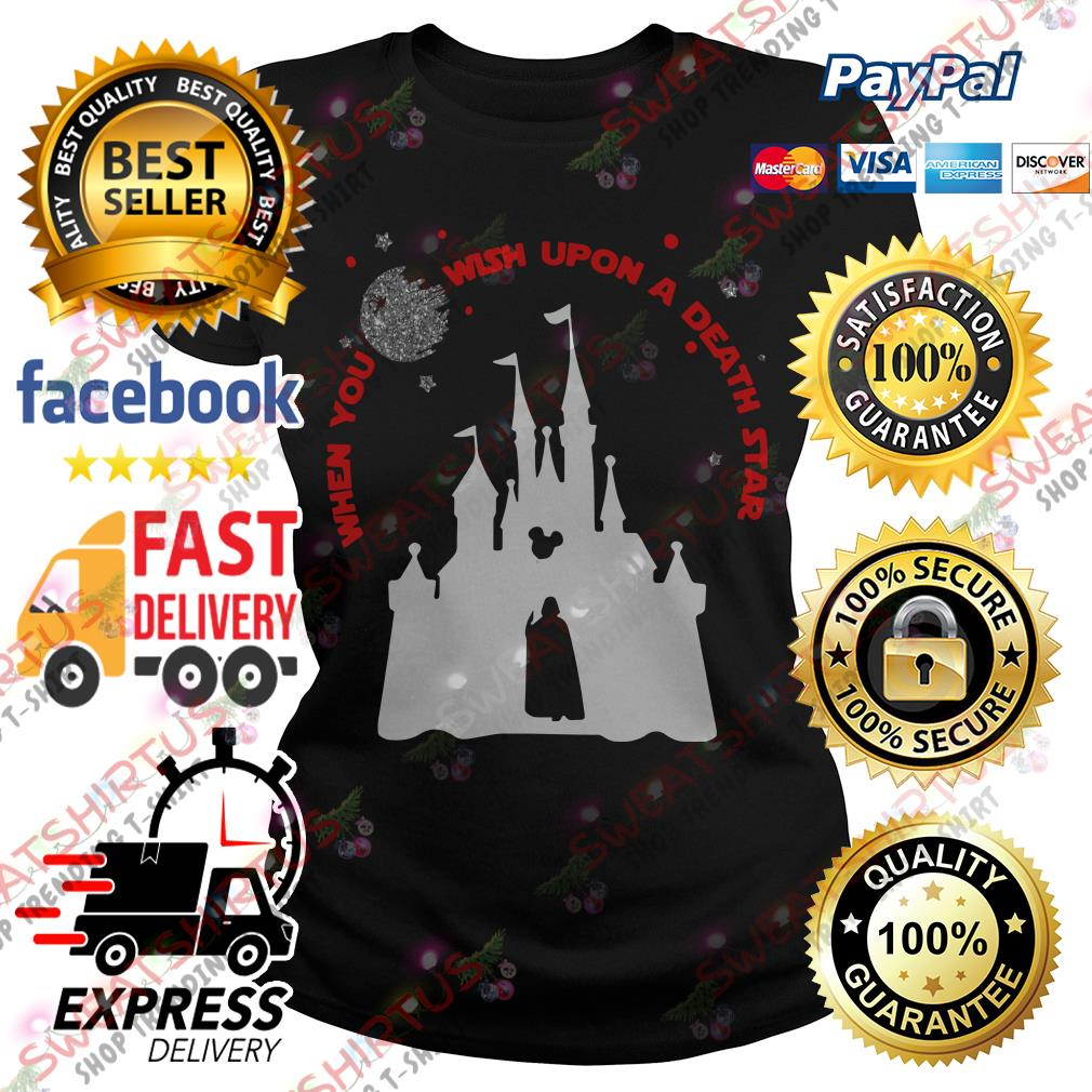 Darth Vader and Disney castle when you wish upon a death star Ladies Tee
