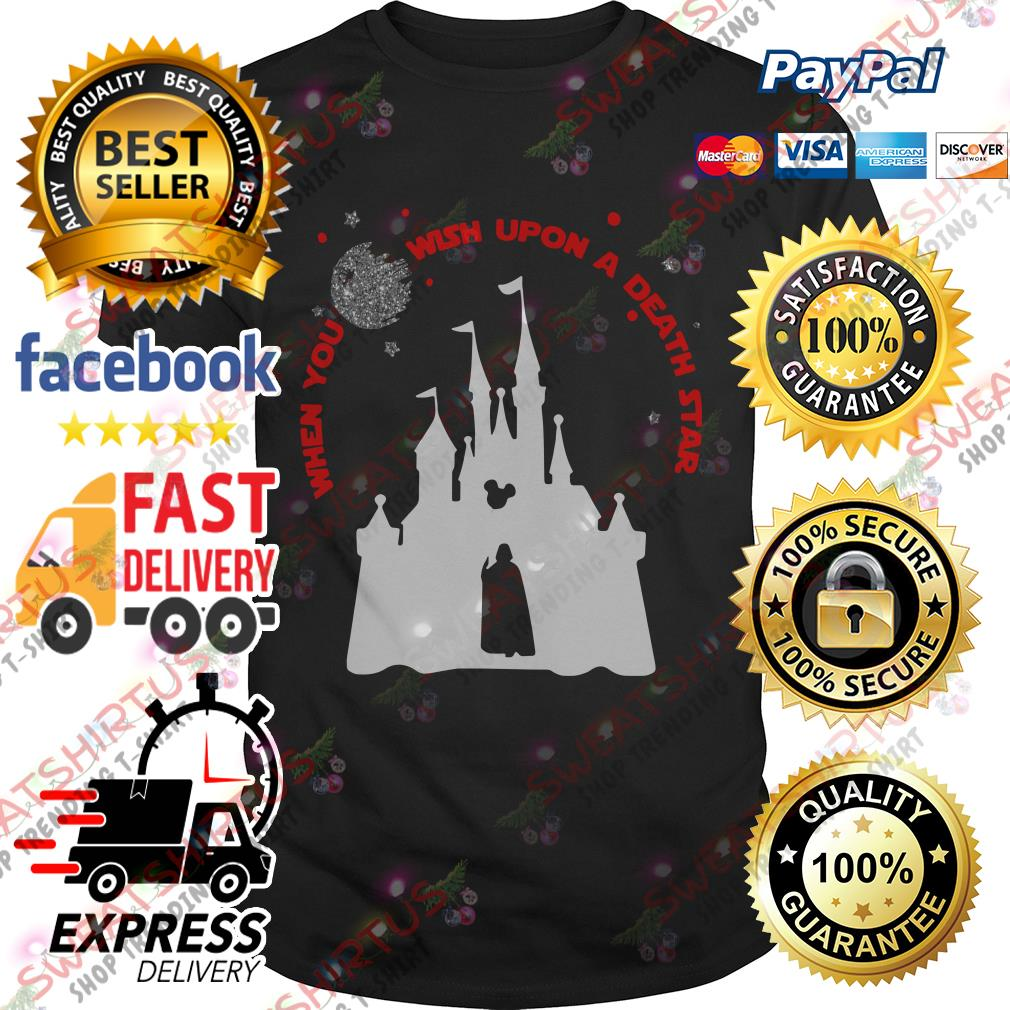 Darth Vader and Disney castle when you wish upon a death star shirt