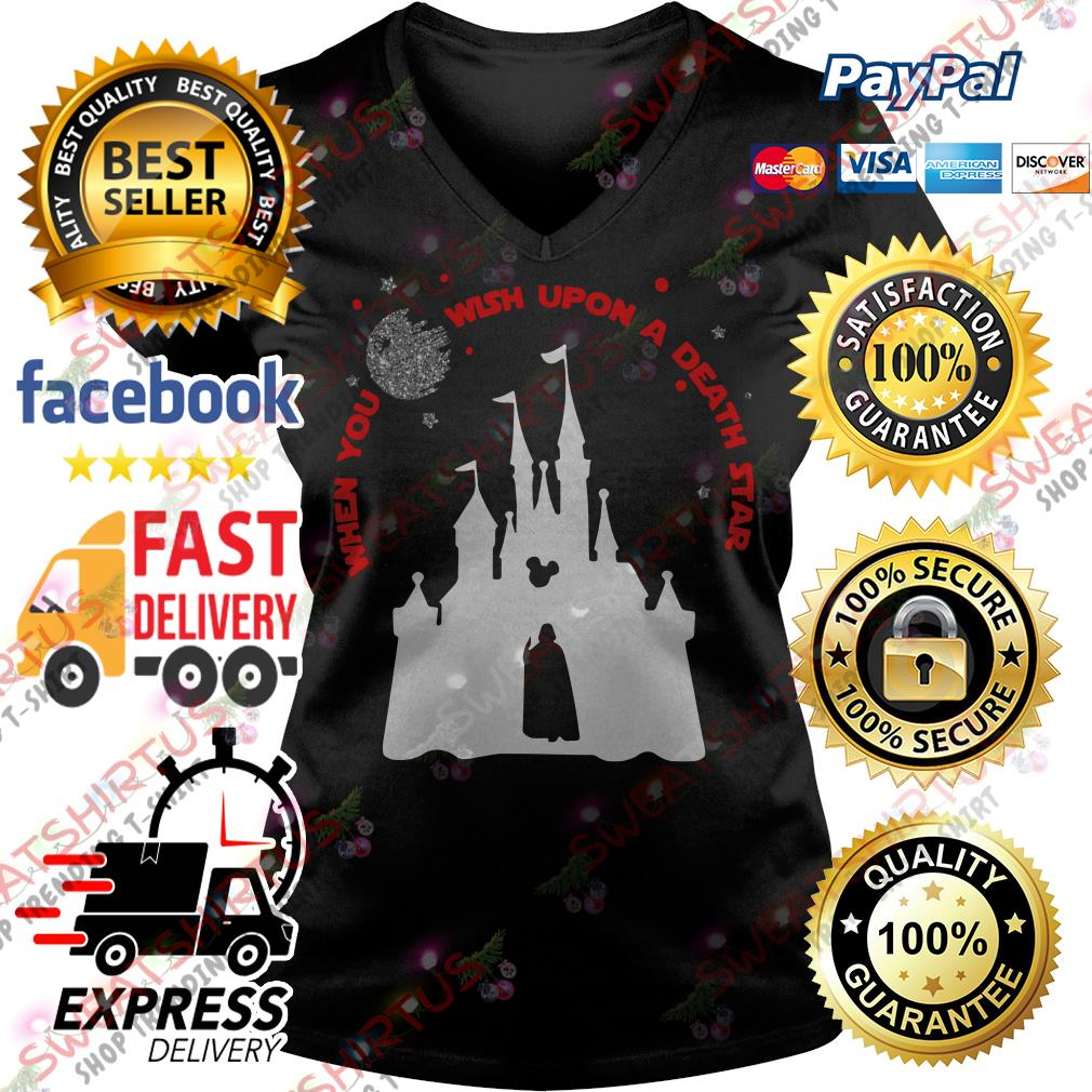 Darth Vader and Disney castle when you wish upon a death star V-neck T-shirt