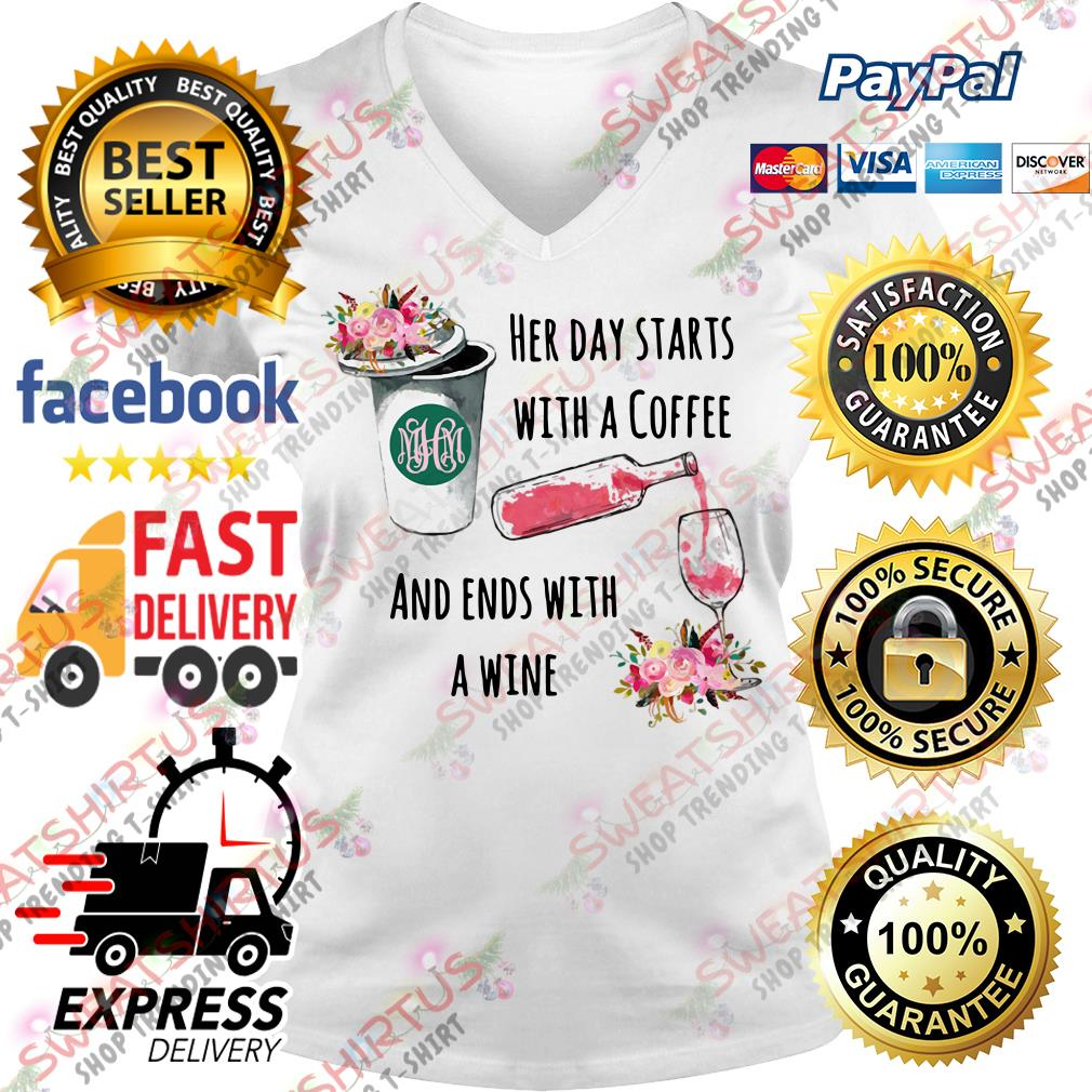 Her day starts with a coffee and ends with a wine V-neck T-shirt