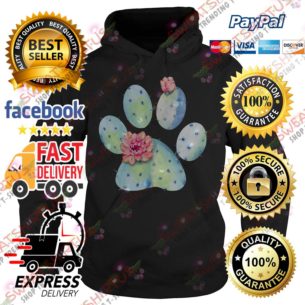 Dog paw cactus with flower Hoodie