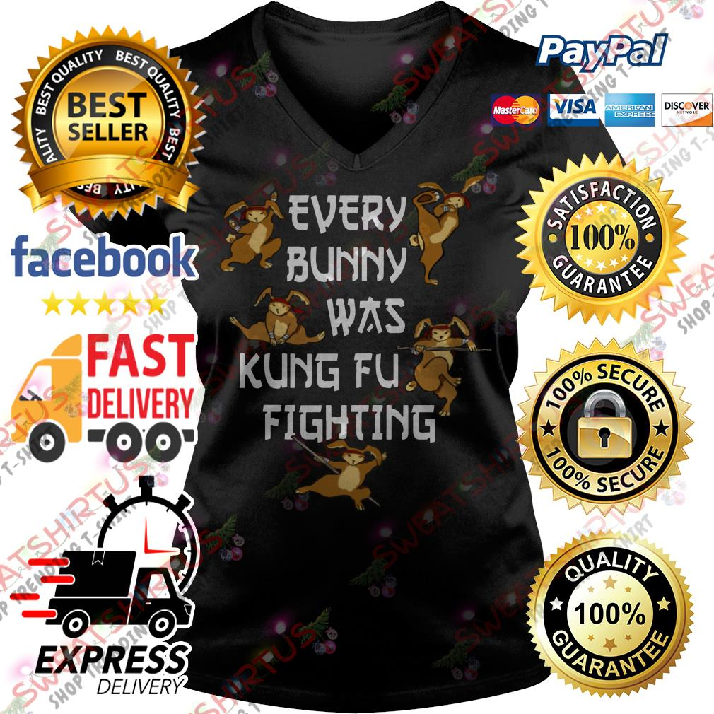 Every bunny was Kung Fu fighting V-neck T-shirt
