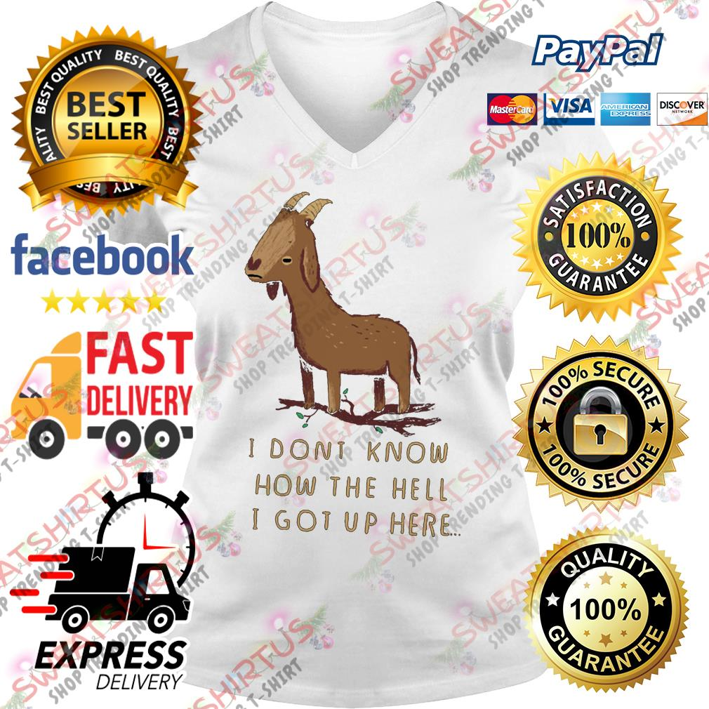 Goat I dont know how the hell I got up here V-neck T-shirt