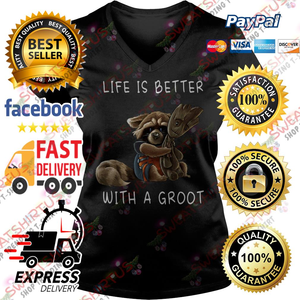 Life is better with a Groot V-neck T-shirt