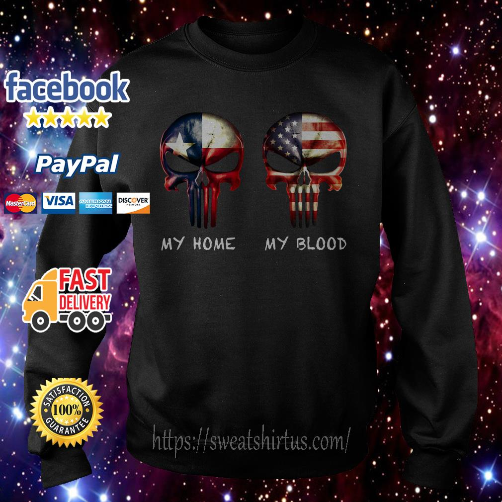 Skulls American and Texas flag my home my blood Sweater