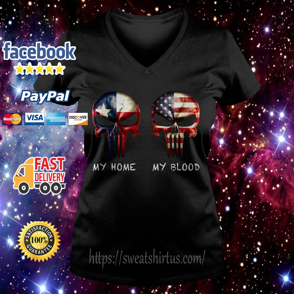Skulls American and Texas flag my home my blood V-neck T-shirt