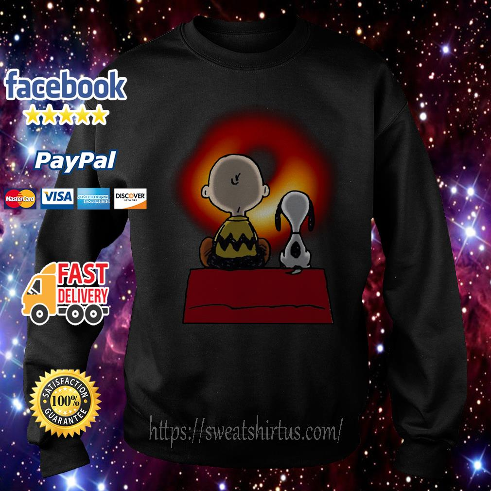 Snoopy and Charlie Brown watching Cosmic Black Hole Sweater