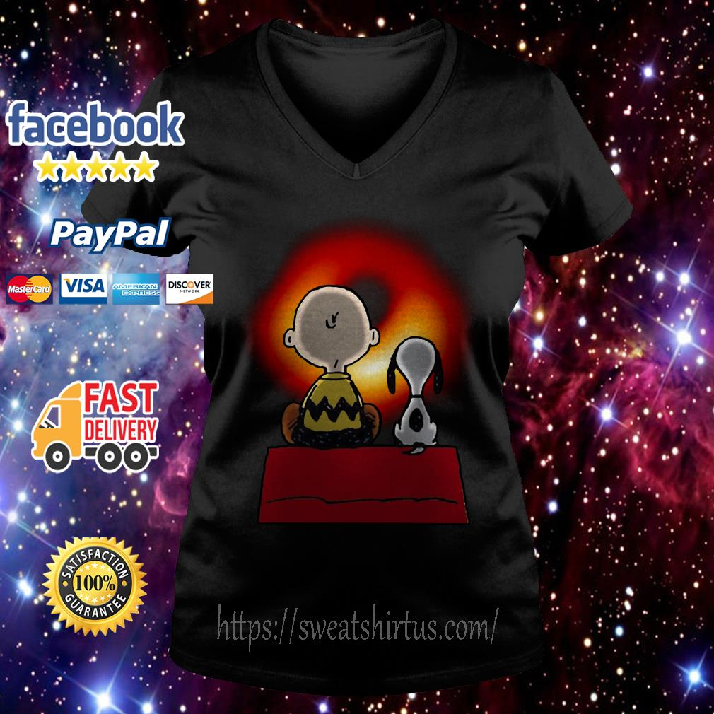 Snoopy and Charlie Brown watching Cosmic Black Hole V-neck T-shirt