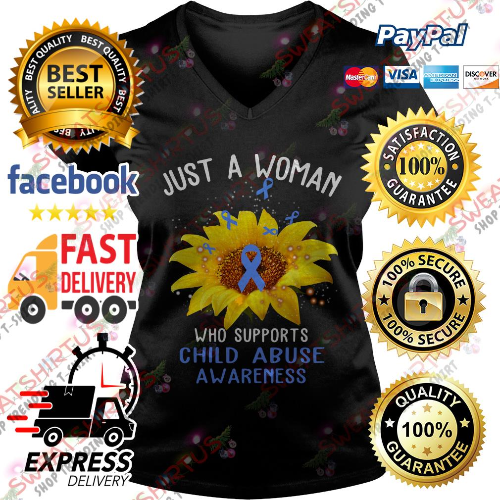 Sunflower just a woman who supports child abuse awareness V-neck T-shirt