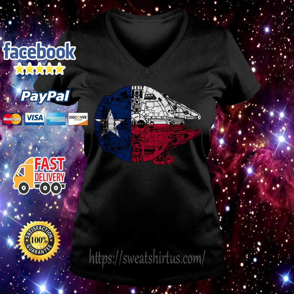 Texas Flag and the Millennium Falcon V-neck T-shirt