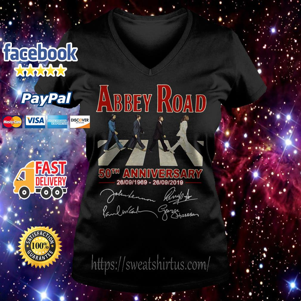 The Beatles Abbey Road 50th anniversary signature V-neck T-shirt
