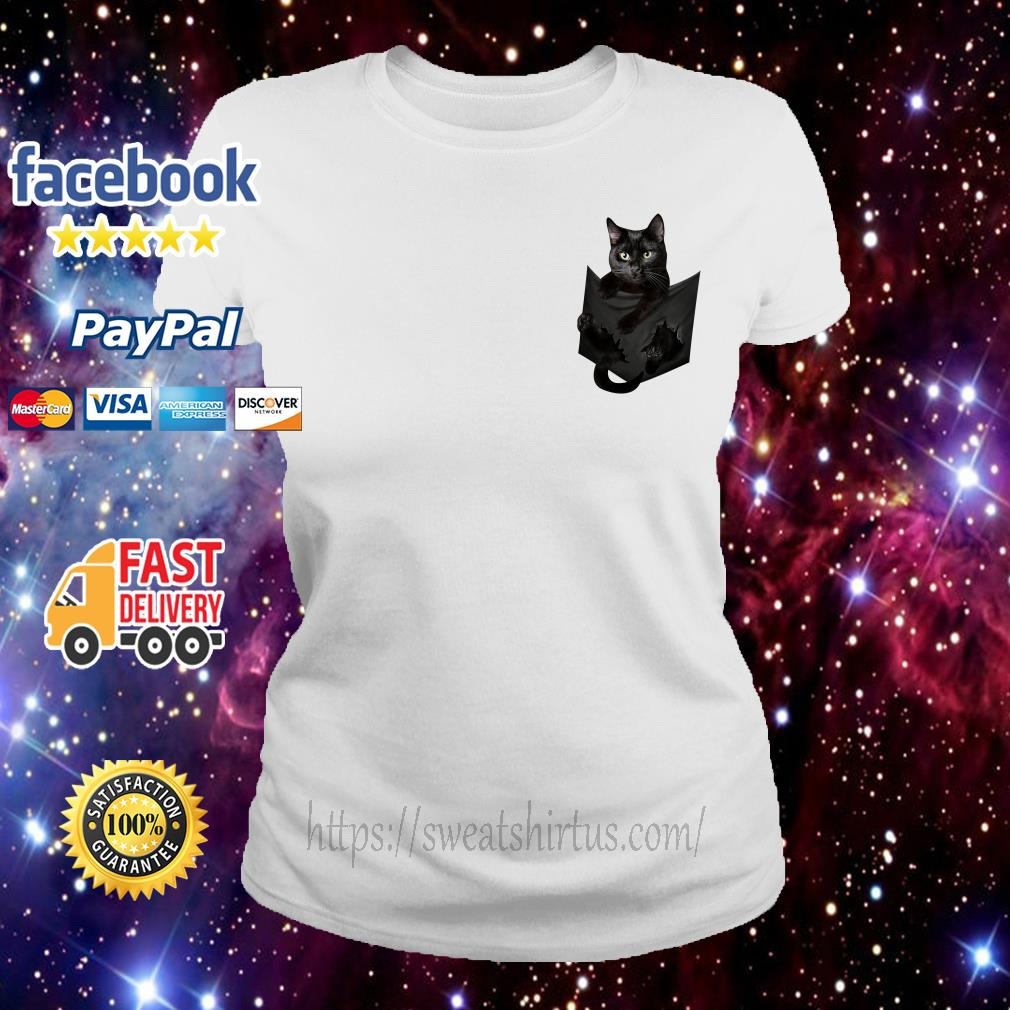 Black cat in the pocket Ladies Tee