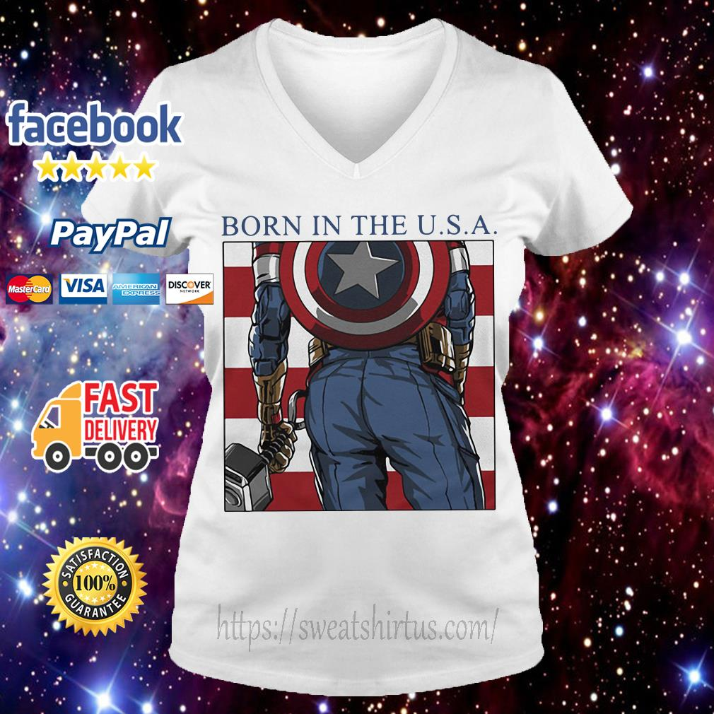 Captain America born in the USA V-neck T-shirt