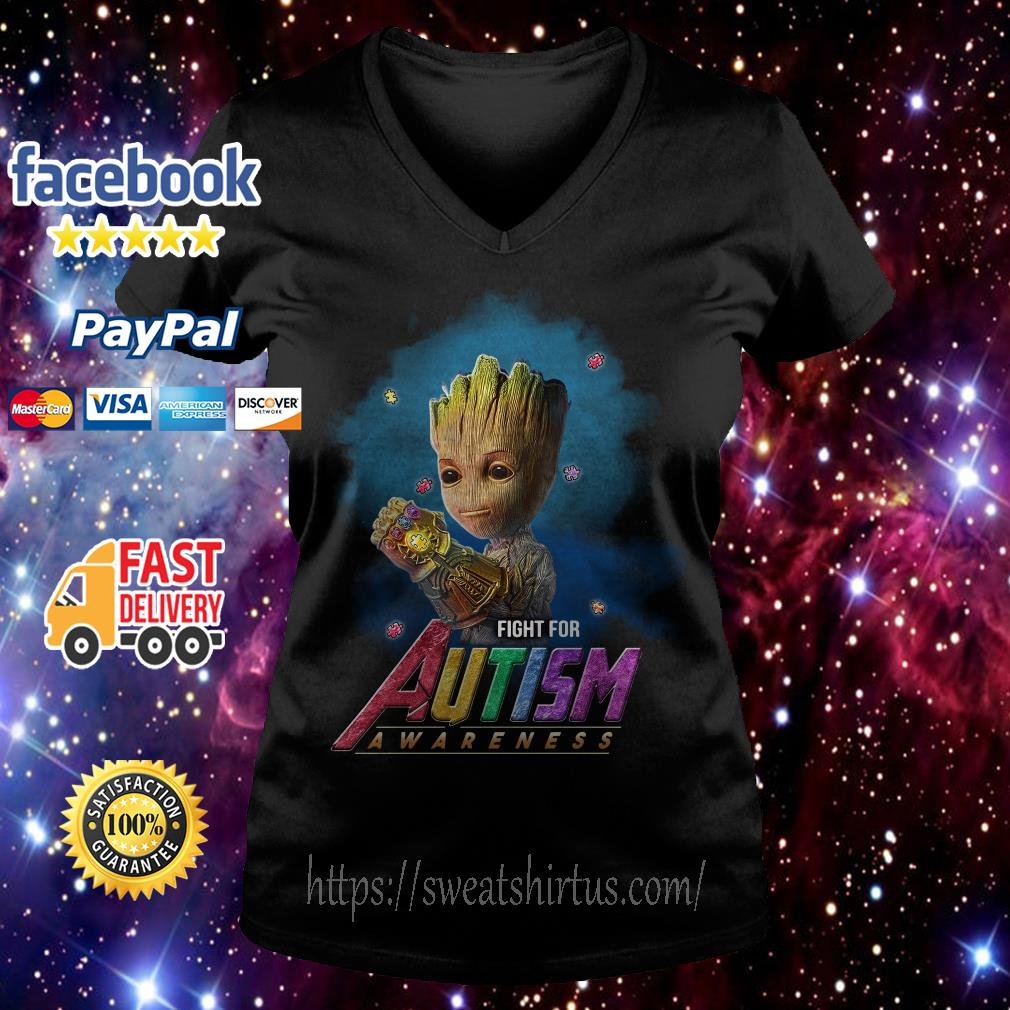 Groot Infinity Gauntlet fight for Autism awareness V-neck T-shirt