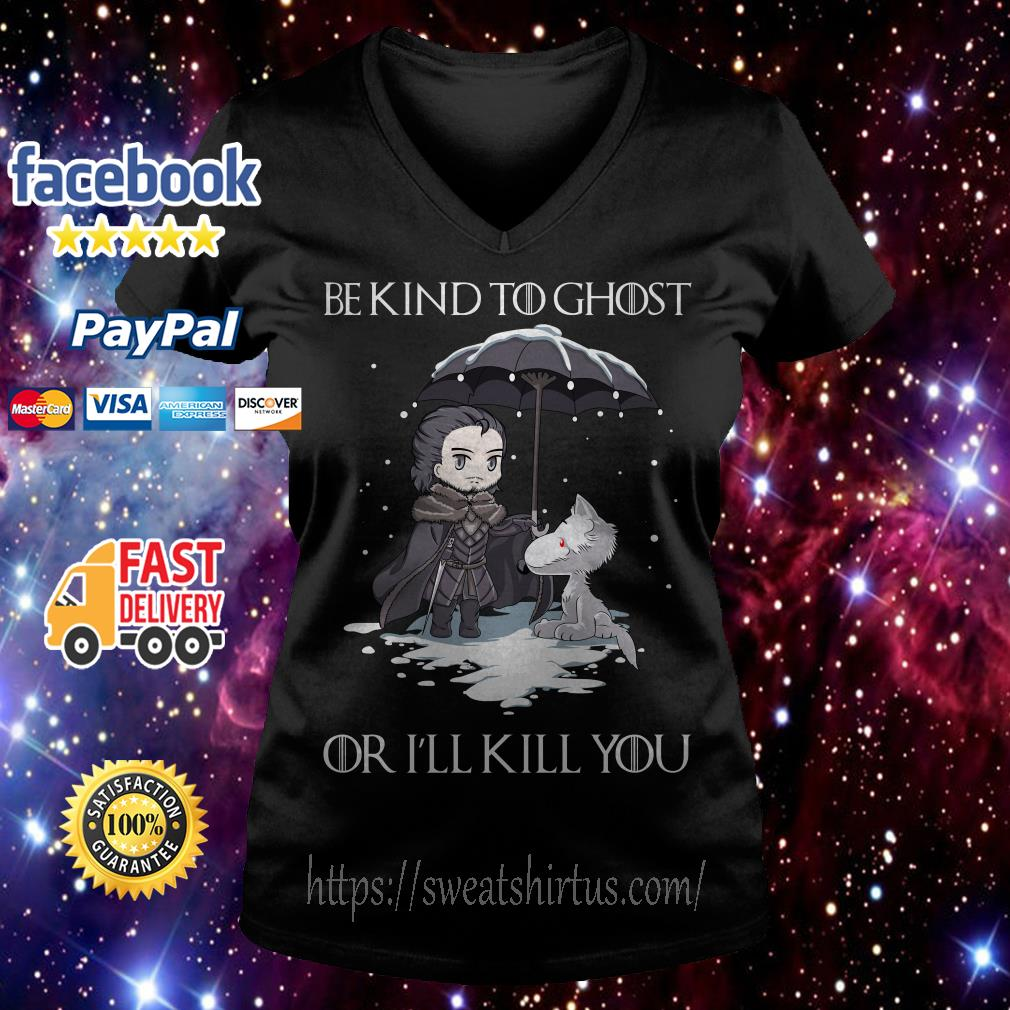John Snow and Wolf be kind to ghost or I'll kill you Game of Thrones V-neck T-shirt