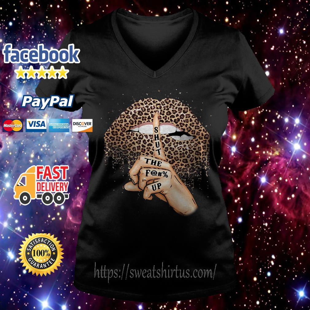 Leopard lips shut the fuck up V-neck T-shirt