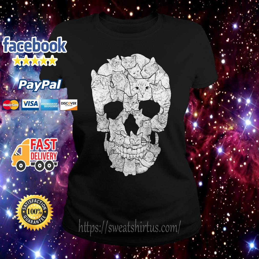 Sketchy Cat Skull Ladies Tee