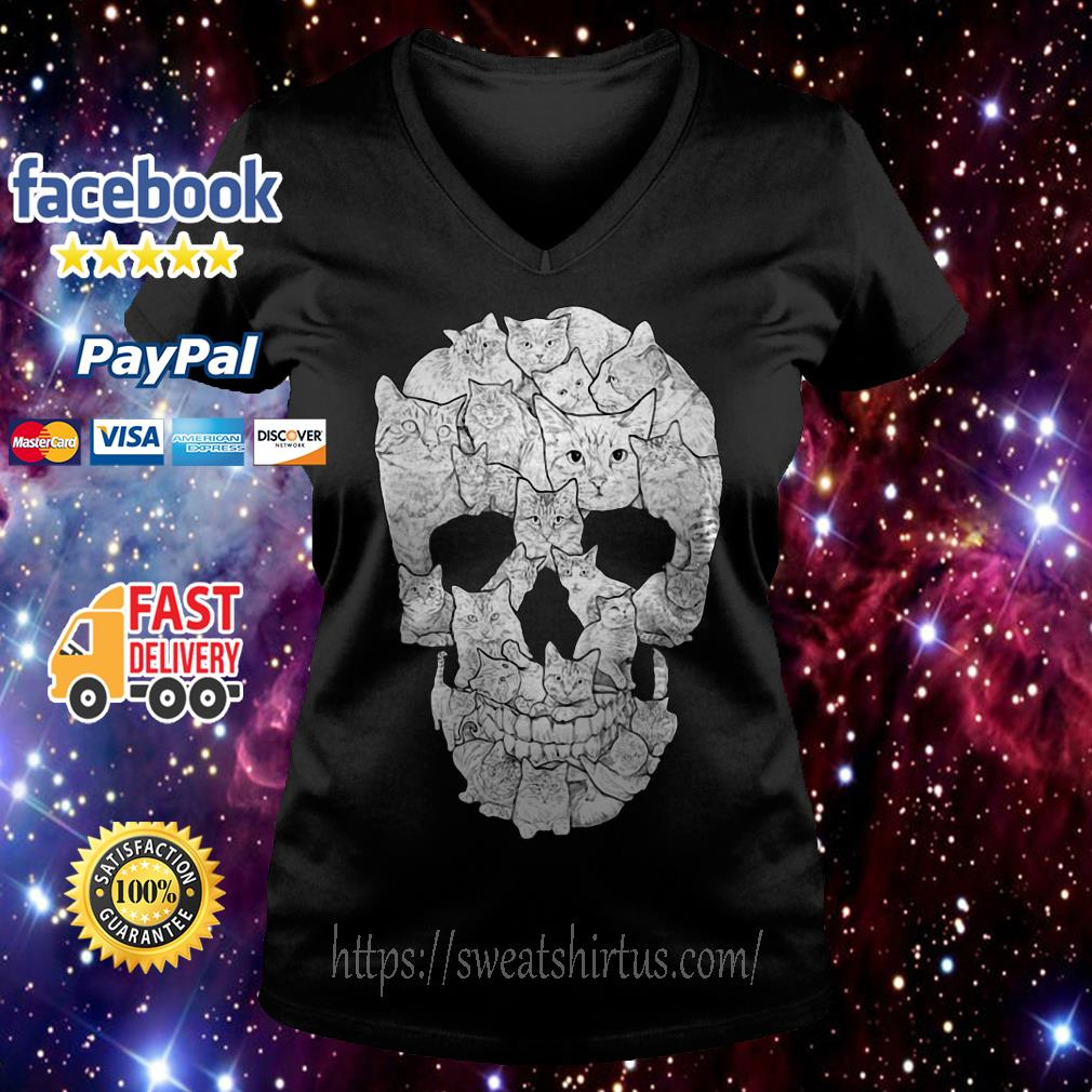 Sketchy Cat Skull V-neck T0sgurt